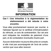 Avis information contravention